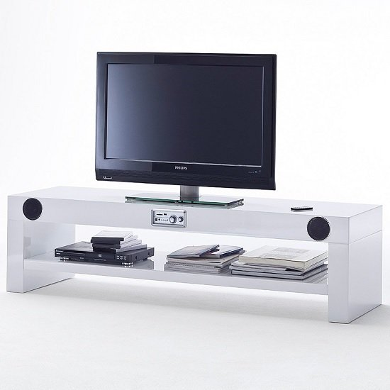 Avanti TV Stand Rectangular In White High Gloss Lacquer