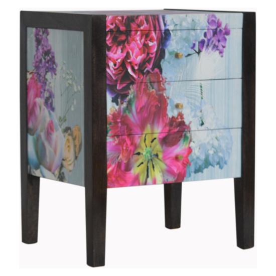 View Avanti wooden bedside cabinet in floral pattern