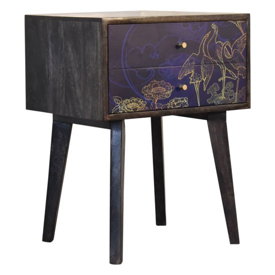 View Avanti wooden bedside cabinet in midnight blue pattern