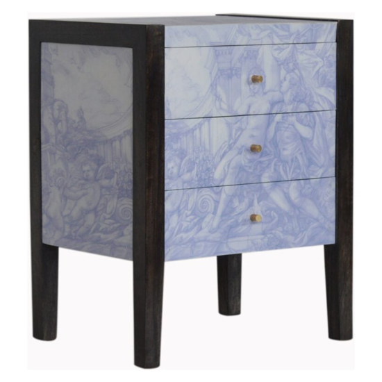 Avanti Wooden Bedside Cabinet In Sculpture Pattern