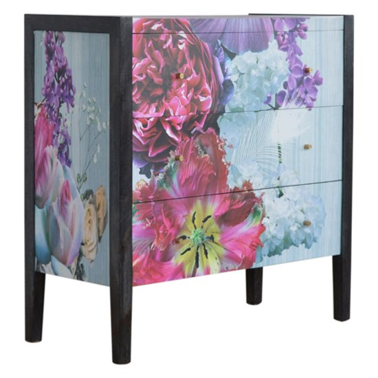 Avanti Wooden Chest Of 3 Drawers In Floral Pattern