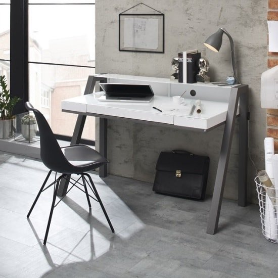 Avanti Glass Computer Desk In White And Anthracite Metal Legs