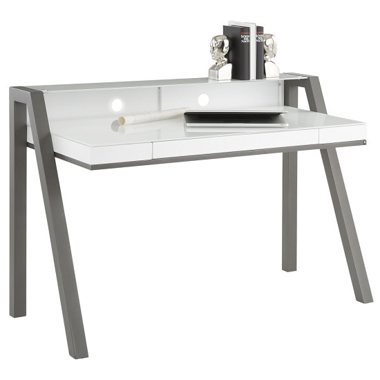 Avanti Glass Computer Desk In White And Anthracite Metal Legs_2