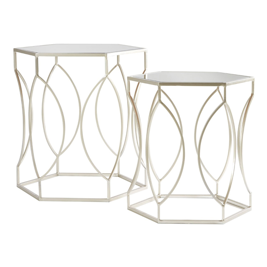 Avanto Set Of 2 Side Tables In Champagne With Mirrored Top _3