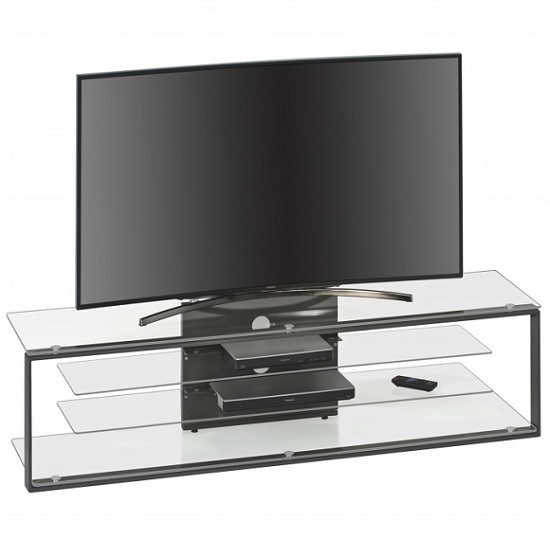Avelyn TV Stand In Clear Glass With Anthracite Metal Frame