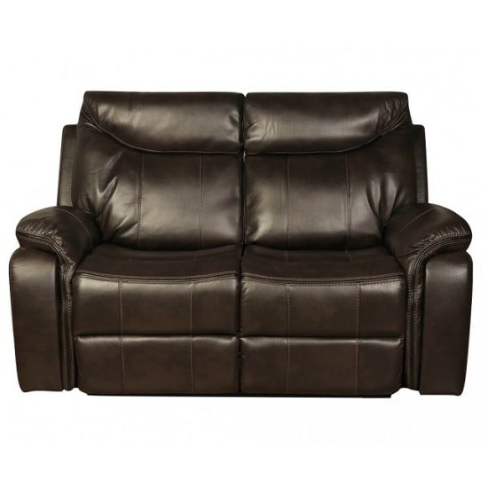 Avery Recliner 2 Seater Sofa In Brown Faux Leather