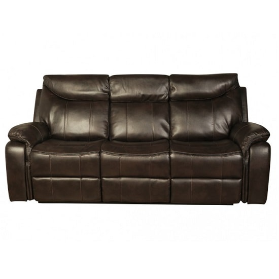 Avery Recliner 3 Seater Sofa In Brown Faux Leather_1