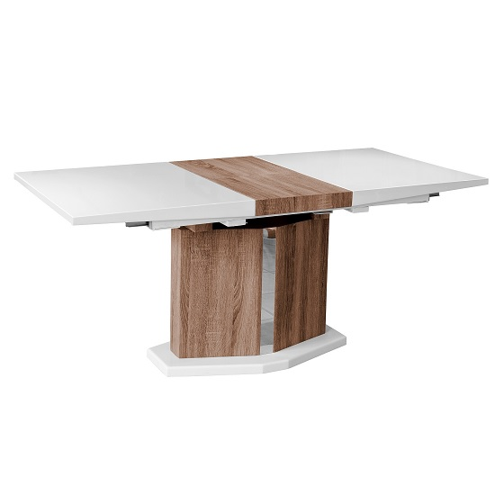 Avery Extendable Dining Table In High Gloss White And Light Oak