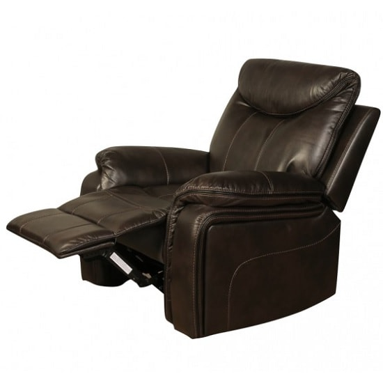 Image of Avery Recliner Sofa Chair In Brown Faux Leather