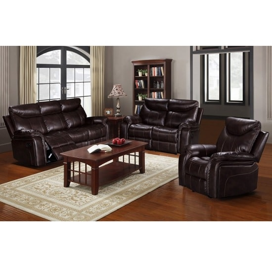 Avery Recliner 3 Seater Sofa In Brown Faux Leather_2