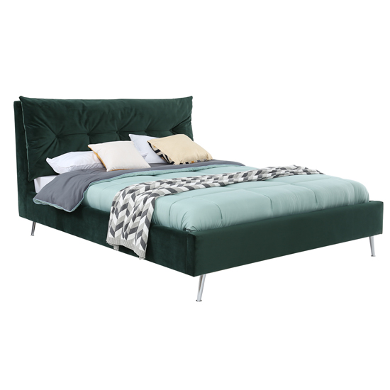 Avery Velvet Upholstered Double Bed In Green