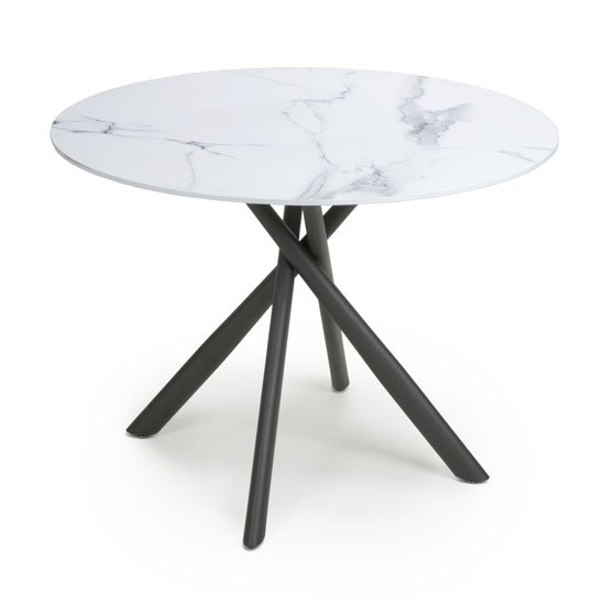 View Avesta round glass top dining table in white