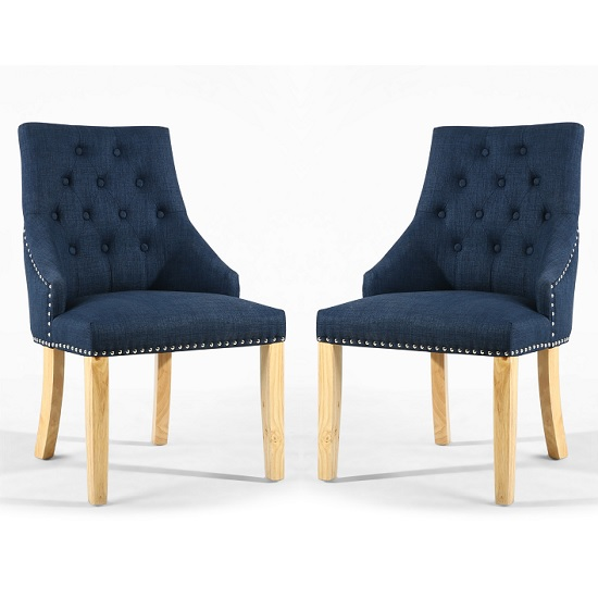 Avian Linen Effect Accent Chair In Polo Blue In A Pair