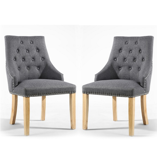 Avian Linen Effect Accent Chair In Steel Grey In A Pair