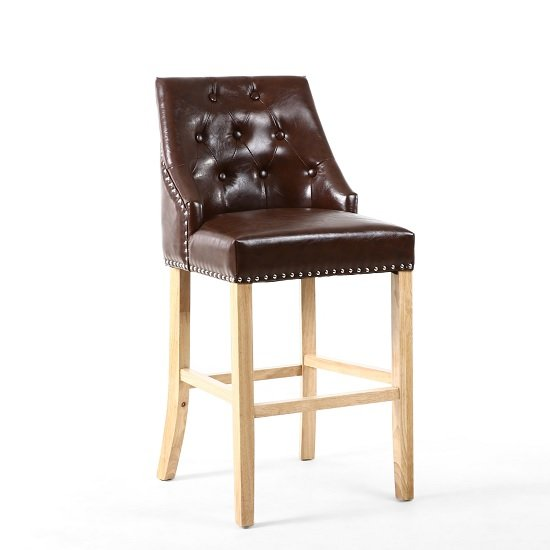 Avian Leather Match Bar Chair In Antique Brown With Wooden Legs_1
