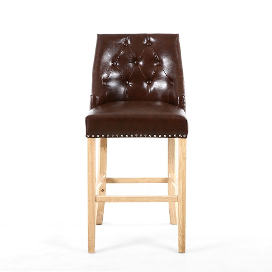 Avian Leather Match Bar Chair In Antique Brown With Wooden Legs_2