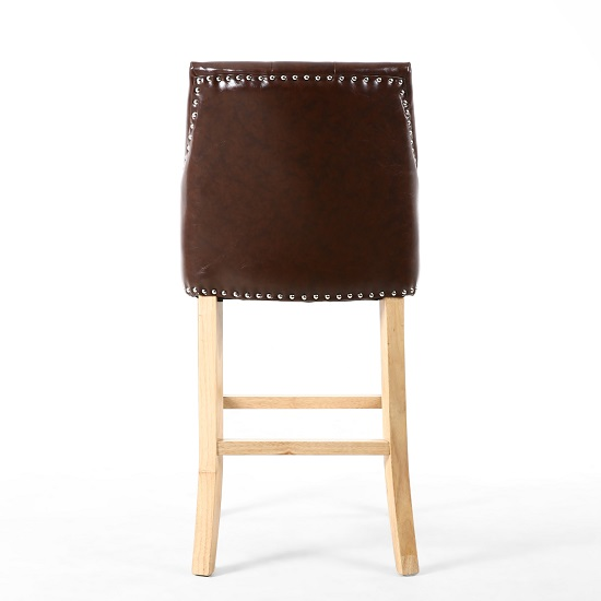 Avian Leather Match Bar Chair In Antique Brown With Wooden Legs_3