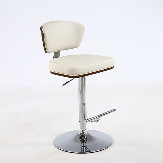 Aviator Bar Stool In Cream Faux Leather With Chrome Base