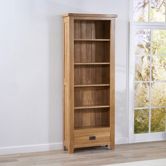 Avignon Wooden Bookcase In Solid Oak With 1 Drawer