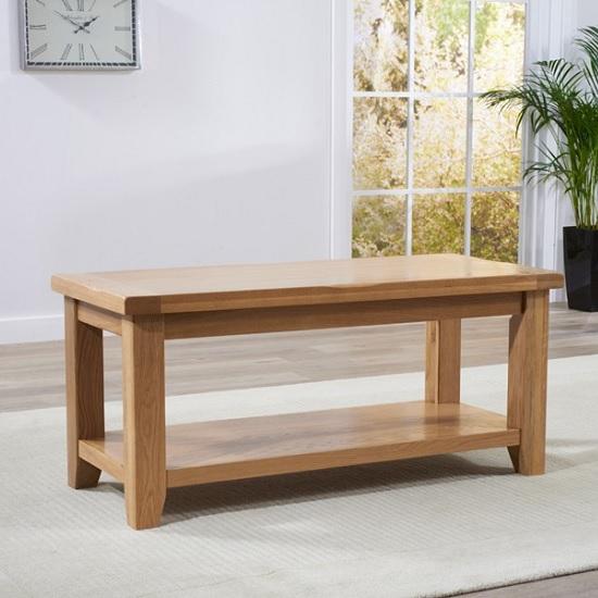 Avignon Wooden Coffee Table Rectangular In Oak With Undershelf