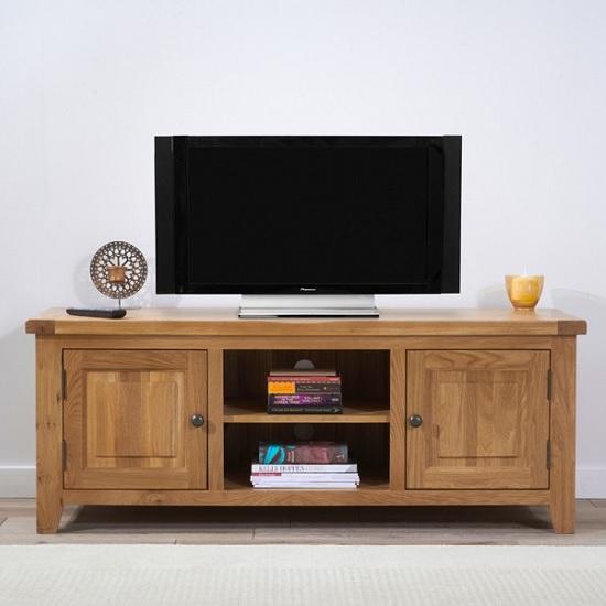 Avignon Wooden TV Stand In Oak With 2 Doors