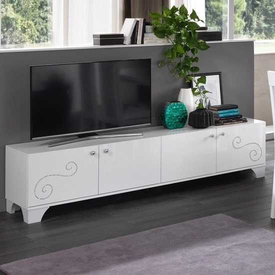 Avion TV Stand Large In White High Gloss With Swarovski Inserts