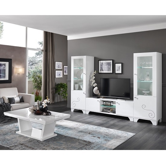 Avion Living Room Furniture Set In White High Gloss With LED_2
