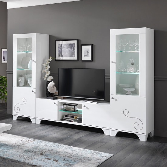 Avion living room furniture set in white high gloss with White high gloss living room furniture uk