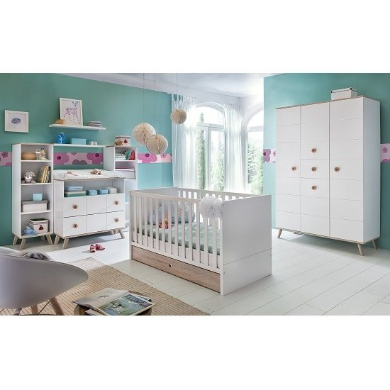 Avira Childrens Wardrobe Large In Alpine White And Oak Trims_2