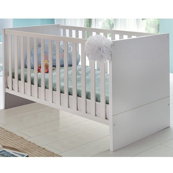 Avira Wooden Baby Bed In Alpine White And Oak