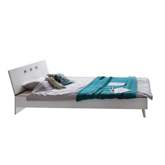 Avira Wooden Single Bed In Alpine White And Oak