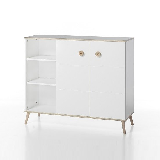 Avira Wooden Childrens Storage Cabinet In Alpine White And Oak