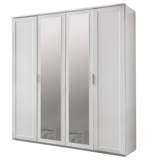 Avira Wooden Mirror Wardrobe Large In Alpine white