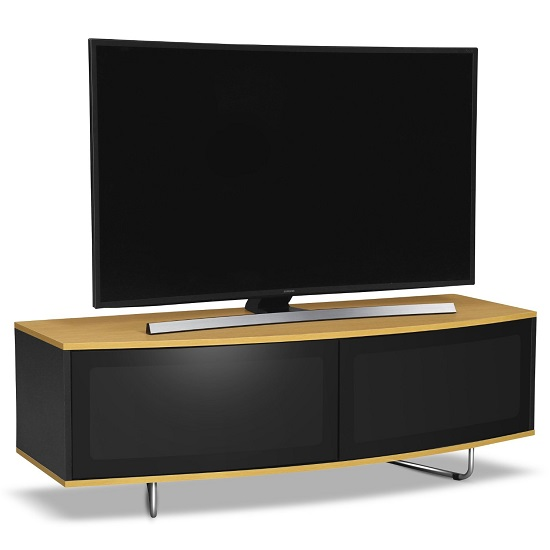 Avitus TV Stand In Black Gloss With Oak Top And Bottom Panel
