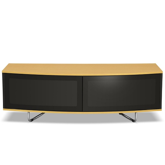 Avitus TV Stand In Black Gloss With Oak Top And Bottom Panel_2