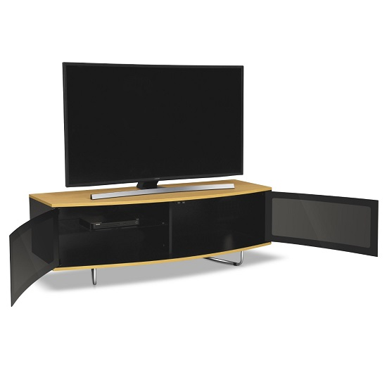Avitus TV Stand In Black Gloss With Oak Top And Bottom Panel_3