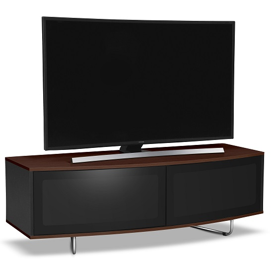 Avitus TV Stand In Black Gloss And Walnut Top and Bottom Panel