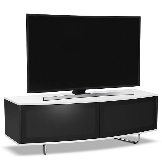 Avitus TV Stand In Black Gloss With White Top and Bottom Panel_1