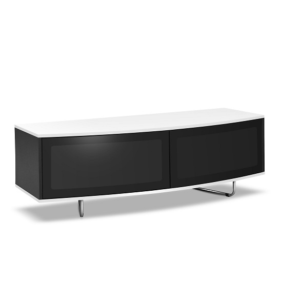 Avitus TV Stand In Black Gloss With White Top and Bottom Panel_2