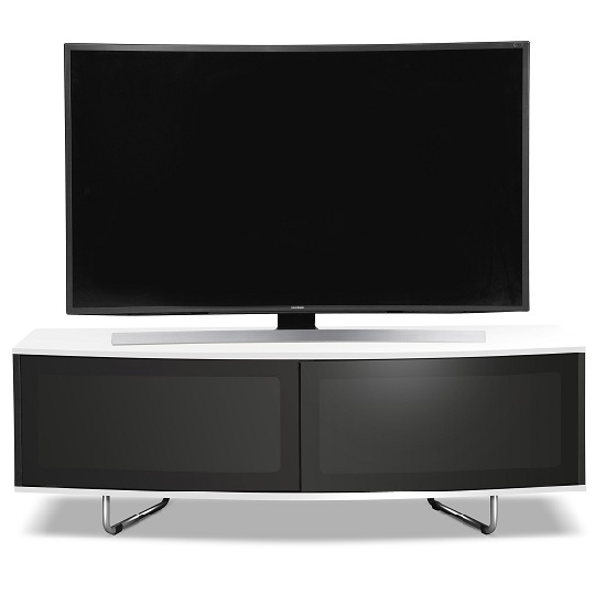 Avitus TV Stand In Black Gloss With White Top and Bottom Panel_3
