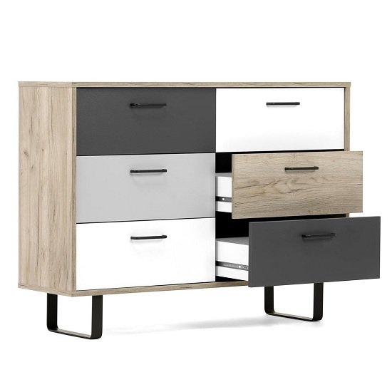 Aviva Chest Of Drawers In Multicolor And Craft Oak_2