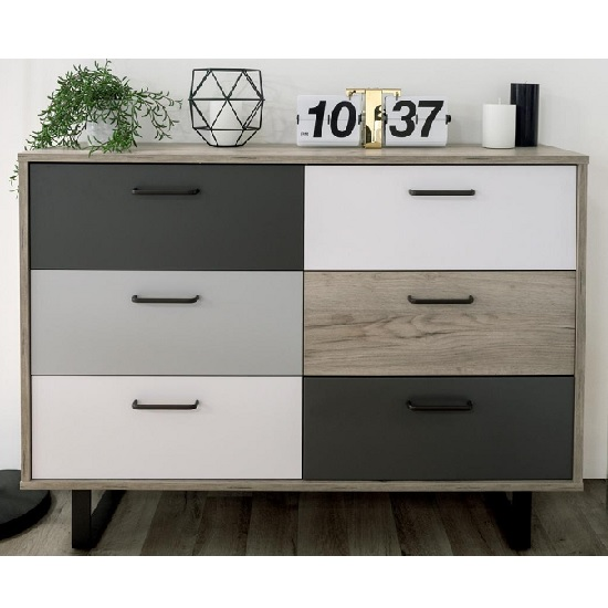 Aviva Chest Of Drawers In Multicolor And Craft Oak_3