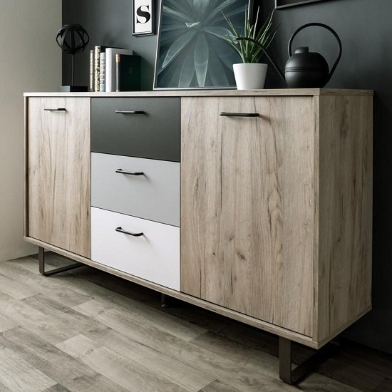 Aviva Wooden Sideboard In Multicolor And Craft Oak With 2 Doors_1