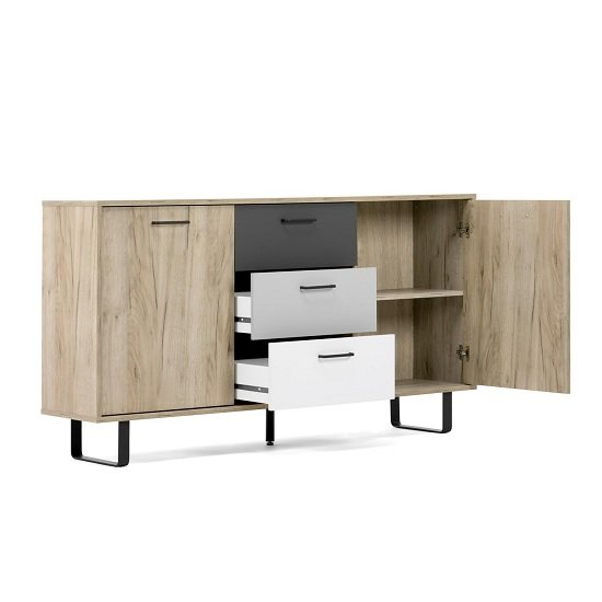 Aviva Wooden Sideboard In Multicolor And Craft Oak With 2 Doors_2