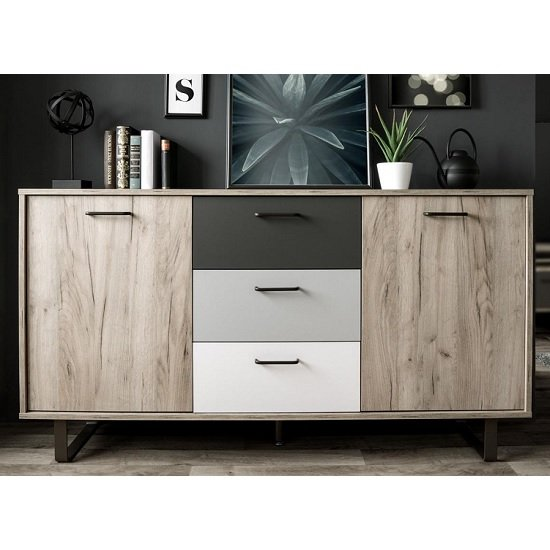 Aviva Wooden Sideboard In Multicolor And Craft Oak With 2 Doors_3
