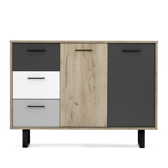 Aviva Wooden Sideboard Small In Multicolor And Craft Oak