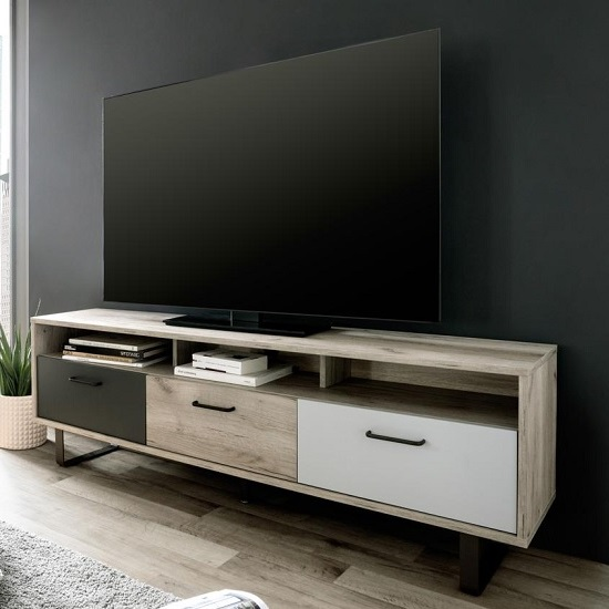 Aviva Wooden TV Stand Rectangular In Multicolor And Craft Oak_1