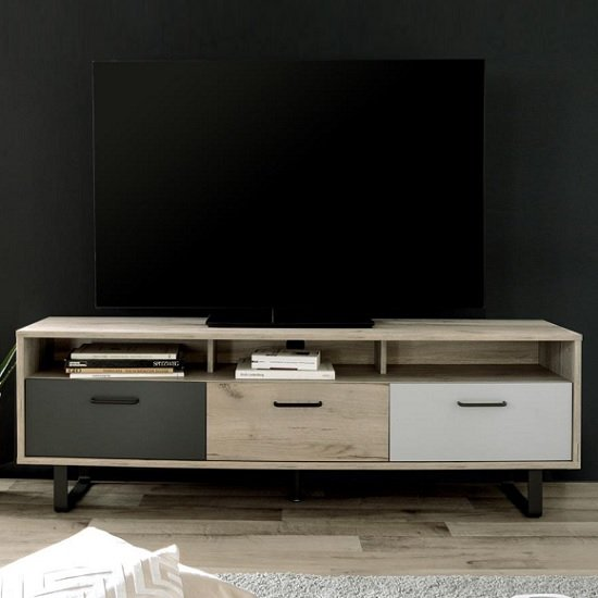 Aviva Wooden TV Stand Rectangular In Multicolor And Craft Oak_2