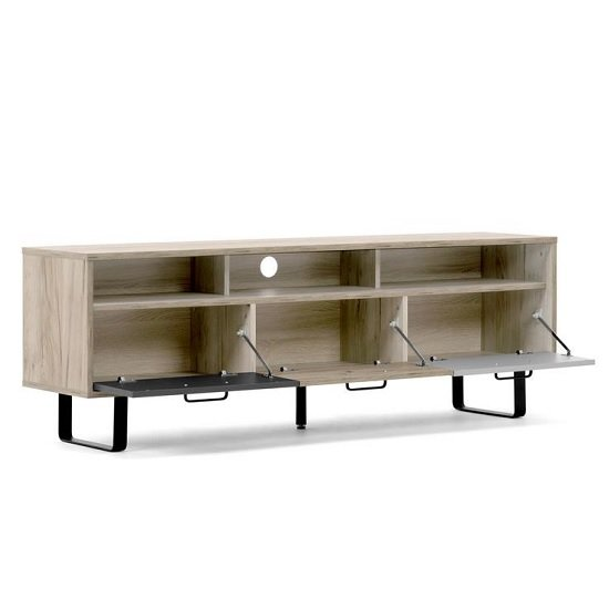 Aviva Wooden TV Stand Rectangular In Multicolor And Craft Oak_3