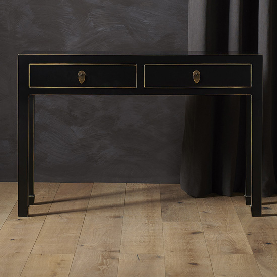 Avlion Large Wooden Console Table In Black And Gold